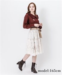 【2Buy10%OFF】Motif lace middle skirt(Ecru-Free)