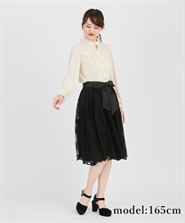 【2Buy10%OFF】Motif lace middle skirt(Black-Free)