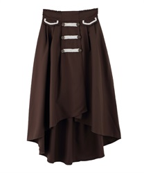 Double-Buttoned x Blades Design Irregular-Hem Skirt(Brown-Free)