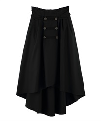 Double-Buttoned x Blades Design Irregular-Hem Skirt(Black-Free)
