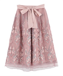 Motif embroidered skirt(Pale pink-Free)