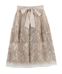 Motif embroidered skirt(Beige-Free)