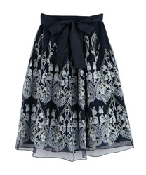 Motif embroidered skirt(Navy-Free)
