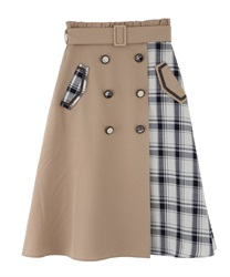 Patchwork design trench skirt
