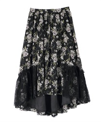 Skirt with floral lace(Black-Free)