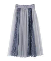 Lace × Tulle Skirt(Saxe blue-Free)