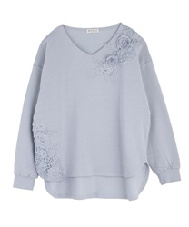 Motif lace pullover(Saxe blue-Free)