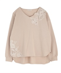 Motif lace pullover(Beige-Free)