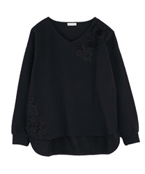 Motif lace pullover(Black-Free)