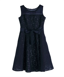 Lace bonding dress(Navy-Free)