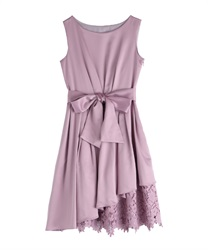 Asymmetric hem Lace dress(Pale pink-Free)