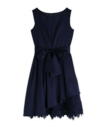 Asymmetric hem Lace dress(Navy-Free)
