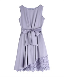 Asymmetric hem Lace dress(Lavender-Free)