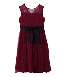 Pleated switching Lace dress(Wine-Free)
