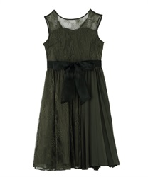 Pleated switching Lace dress(Khaki-Free)