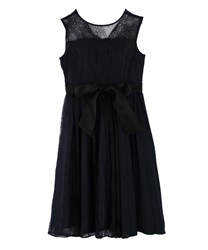 Pleated switching Lace dress(Navy-Free)