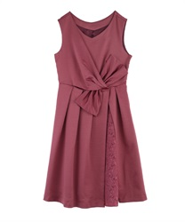 WaistRibbon dress(DarkPink-Free)