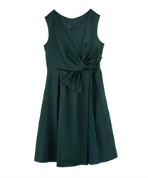 WaistRibbon dress(Dark green-Free)