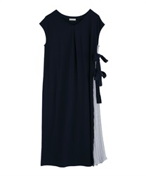 Side Pleated Design Dress(Navy-Free)