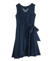 【2Buy10%OFF】Tuck design Asymmetric dress(Navy-Free)