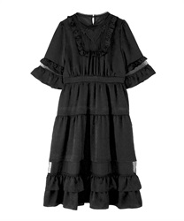 【MAX70%OFF】Tulle Design Ruffle Dress(Black-Free)