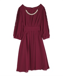 Tuck design dress(Wine-Free)