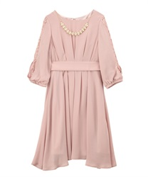 Tuck design dress(Pale pink-Free)