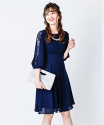 Tuck design dress(Navy-Free)