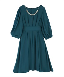 Tuck design dress(Dark green-M)