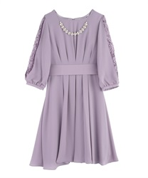 Tuck design dress(Lavender-Free)