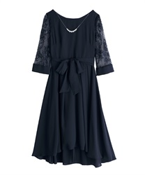 Necklace with SleevesLace dress(Navy-Free)