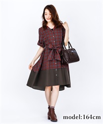 Bi-Collar Open Collar Shirt Dress(Red-Free)