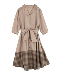 Bi-Collar Open Collar Shirt Dress(Beige-Free)