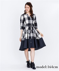 Bi-Collar Open Collar Shirt Dress(Navy-Free)