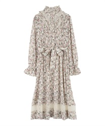 Floral Patterned Long Length Dress with Frill Yoke(Ecru-Free)
