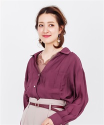 Sheer long sleeve shirt(Wine-Free)