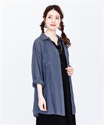 Sheer long sleeve shirt(Blue-Free)