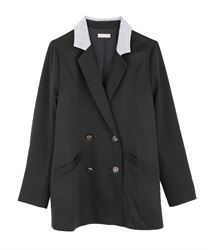 Point check long jacket(Black-Free)