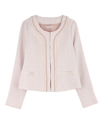 Feminine Designed Tweed Blazer(Pale pink-M)