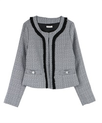 Feminine Designed Tweed Blazer(Black-M)