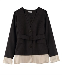"2WAY Blazer ""Removable Pleated-Hem""(Darkbrown-Free)"