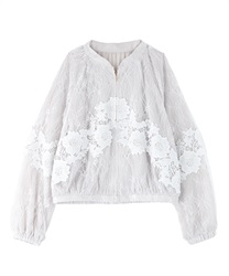 Lacy no-collar jacket(White-Free)