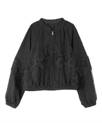 Lacy no-collar jacket(Black-Free)