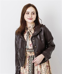 Eco Leather Ruffle Blouson(Brown-M)