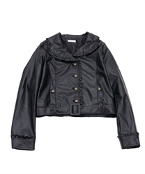 Eco Leather Ruffle Blouson(Black-M)