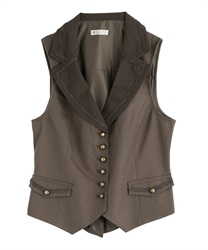【2Buy20%OFF】Continuous button classic vest(Brown-Free)