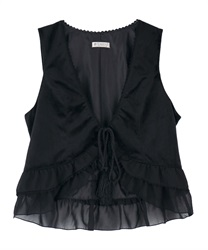 【Global Price】Hem frill tassel vest(Black-Free)