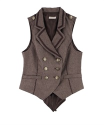 Back Lace Design Vest(Brown-Free)