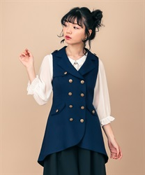 Back Pleated Long Vest(Navy-Free)