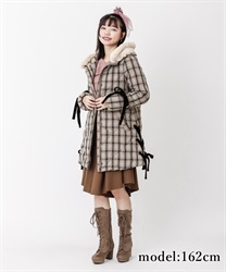 Lace-up eco down coat(Brown-Free)